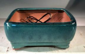Blue / Green  Ceramic Bonsai Pot - Rectangle <br>Professional Series <br><i>6