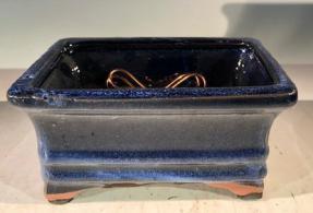 Marble Blue Ceramic Bonsai Pot - Rectangle <br>Professional Series <br><i>6