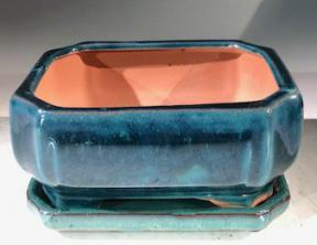 Blue / Green Ceramic Bonsai Pot - Rectangle <br>With Humidity Drip Tray<br>6