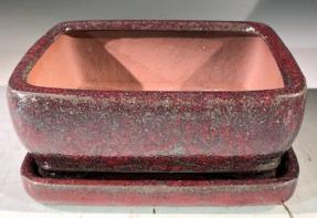 Parisian Red Ceramic Bonsai Pot -Rectangle<br>With Humidity Drip Tray<br>6