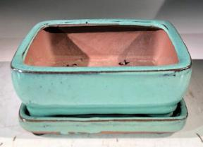 Light Blue Ceramic Bonsai Pot -Rectangle<br>With Humidity Drip Tray<br>6