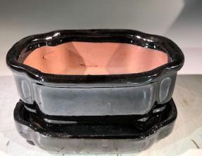 Black Ceramic Bonsai Pot -Rectangle<br>With Humidity Drip Tray<br>6