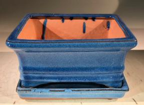 Blue Ceramic Bonsai Pot -Rectangle<br>With Humidity Drip Tray<br>6