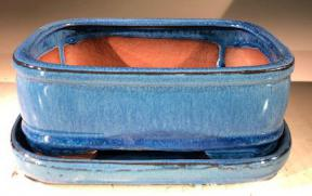 Blue Ceramic Bonsai Pot - Rectangle<br>With Humidity Drip Tray<br>7