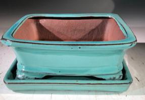 Light Blue Ceramic Bonsai Pot - Rectangle<br>With Humidity Drip Tray<br>7