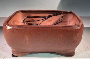 Aztec Orange Ceramic Bonsai Pot<br>Rectangle <br>Professional Series <br>8.5