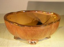 Aztec Orange Ceramic Bonsai Pot - <br>Oval Lotus Shaped <br>Professional Series <br>8.0