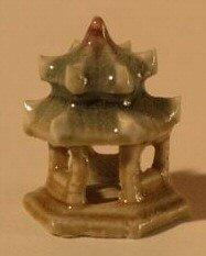 Glazed Six Sided Pavillion Ceramic Figurine (Green) - .75