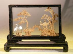 Handmade Cork Carving Encased in Glass<br>In Wooden Display Case