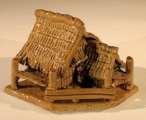 Miniature Ceramic Figurine<br> Glazed Water Pavilion<br>3