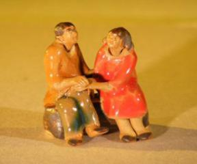 Miniature Glazed Figurine<br>Loving Couple Holding Hands