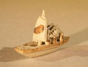Ceramic Miniature Sampan Figurine<br>Small Size