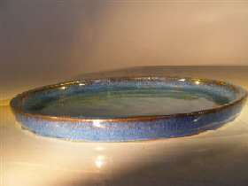 Blue Ceramic Humidity/Drip Bonsai Tray - Round<br><i> 8.0