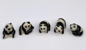 Ceramic Panda Figurines- Set of 5<br>Various Poses 1