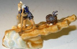 Miniature Figurine<br>Man On Raft Riding Wave<br>Fine Detail