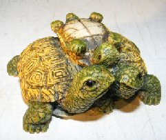 Miniature Turtle Figurine<br><i></i> Three Turtles - With Baby Turtle on Back