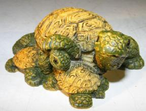 Miniature Turtle Figurine<br><i></i>Three Turtles - Two Turtles Crawling Underneath