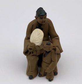 Ceramaic Figurine<br>Woman & Child Sitting On A Bench