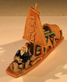 Man on Sampan Boat<br> Large<br>Glazed Figurine