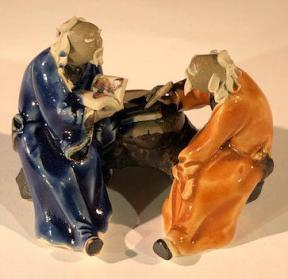 Ceramic Figurine<br>Two Men Sitting On A Bench - 2