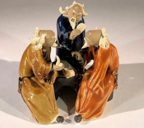 Miniature Ceramic Figurine<br>Three Men Sitting at a Table Playing Musical Instrument - 3