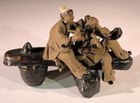 Miniature Ceramic Figurine<br> Couple Sitting on Bench Making Music - 3