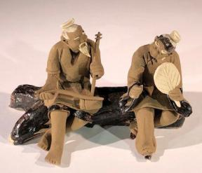 Miniature Ceramic Figurine<br> Two Men Sitting on Bench Playing Musical Instrument - 2.5