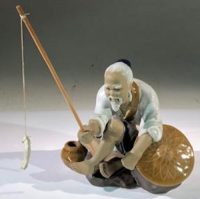Miniature Ceramic Figurine <br>Glazed Fisherman - Large