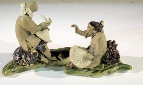 Miniature Ceramic Figurine <br>Two Mud Men On A Leaf, One Sitting Smoking a Pipe, The Other Sitting Down - 3