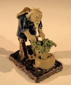 Miniature Ceramic Figurine<br> Man Working on Bonsai Tree - 2