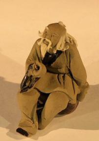 Miniature Ceramic Figurine - Mud Man Sitting<br>1.5