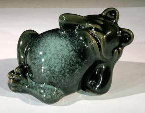 Miniature Ceramic Figurine<br>Frog Relaxing - 3