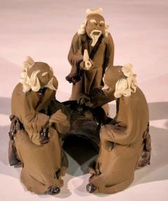 Miniature Ceramic Figurine<br>Three Mud Men Sitting at a Table Playing Chess - 3