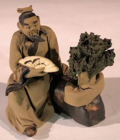 Miniature Ceramic Figurine<br>Mud Man Holding Fan With Bonsai Tree<br>2.5