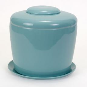"""Celadon Blue Porcelain Ceramic Bonsai Cremation Urn<br>with Matching Humidity / Drip Tray<br>Round, 9"""" high and 9"""" in diameter"""