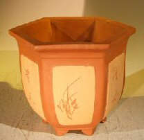Unglazed Brown Bonsai Pot With Floral Etching<br><i>8.0