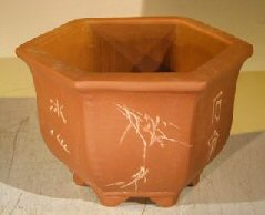 Unglazed Bonsai Pot with Etching and Raised Feet<br><i>8.0