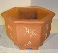 Unglazed Bonsai Pot with Etching and Raised Feet <br><i>7.5