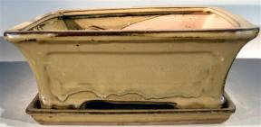 Olive Green Ceramic Bonsai Pot - Rectangle <br>Professional Series with Attached Humidity/Drip Tray <br><i>10.25