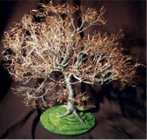 Wire Bonsai Tree Sculpture - Dogwood on Lawn<br>19