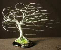 Wire Bonsai Tree Sculpture<br>Windswept Mini Tree - 4