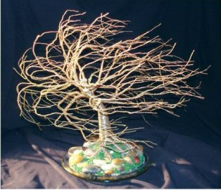 "Wire Bonsai Tree Sculpture - Brass Windswept 14""Hx15""Wx13""D"