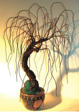 "Wire Bonsai Tree Sculpture - Asian Willow 20""Hx15""Wx15""D"