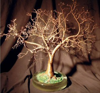 "Wire Bonsai Tree Sculpture - Copper Oak With Hammered Leaves 19""Hx18""Wx18""D"