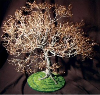 "Wire Bonsai Tree Sculpture - Dogwood on Lawn 19""Hx19""Wx21""D"