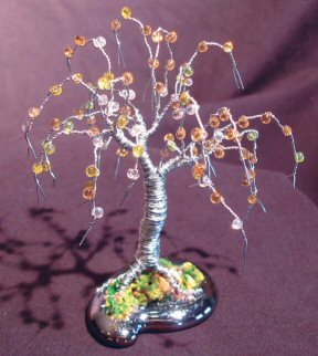 "Wire Bonsai Tree Sculpture Beaded Mini Tree - 4""x4""x4"""