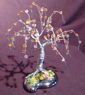 Wire Bonsai Tree Sculpture<br>Beaded Mini Tree - 4 x 4 x 4