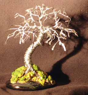 "Wire Bonsai Tree Sculpture Hammered Leaves Mini Tree - 4""x4""x4"""