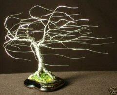 """Wire Bonsai Tree Sculpture Windswept Mini Tree - 4""""x5""""x5"""""""