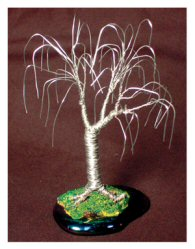 "Wire Bonsai Mini Tree Sculpture 4""x4""x4"""